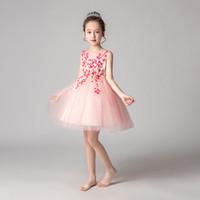 robes de piano achat en gros de-Été enfants vêtements enfants princesse mariage robe filles maille robe performance robe robe piano