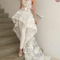 Wholesale new white ivory lace wedding dress online - Sexy New Bohemian White Jumpsuits Wedding Dresses Long Train Zuhair Murad Sweetheart Lace D Floral Appliques Bridal Gown