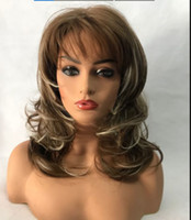 Wholesale beautiful sexy wig for sale - Group buy Beautiful Sexy Brown mixed gold Wavy Wig For Women Human Hair New