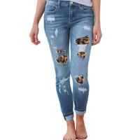 cintura fina para mulheres venda por atacado-Mulheres Plus Size Cintura Alta Skinny Jeans Sólidos Leopard Patchwork Irregular Com Nervuras Buracos Longas Calças Lápis Ocasional Stretch Fino