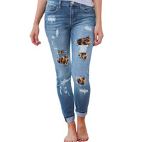jeans rasgados para mujer algodón al por mayor-Womens Plus Size Cintura alta Jeans ajustados Leopardo sólido Patchwork Irregular Agujeros acanalados Lápiz largo Pantalones Casual Stretch Slim