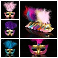 красивые маскарадные маски оптовых-Halloween Party Маски Маскарад маска мяч Венецианский карнавал Mardi Gras Свадебная маска перо красивая лиса маска T2I5211