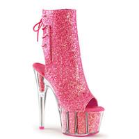 botas de plataforma de tobillo claro al por mayor-Los botines para damas brillan con tacones de 15 cm de altura, zapatillas de plataforma despojadora con tacones transparentes y botines con correa de cremallera