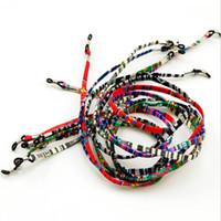 bunte string lanyards großhandel-Bunte Brille 50pcs / lot ethnischer Baumwollschnur-Schauspielschnur Eyewear-Halter sunbath sunglass Abzuglinie falt Bügel