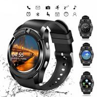 ingrosso telefoni di grande schermo-V8 Smart Watch all'ingrosso della fabbrica con touch screen grande supporto per batteria TF Card per fotocamera per iPhone IOS Android Phone