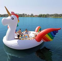 Wholesale toy boats for children for sale - Giant Inflatable Unicorn Pool Float Swimming toys For Adult Children Water Party Toys Air Inflatable boat for person LJJK1484