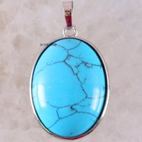 mavi kolye doğal taş toptan satış-Oval 35x25 MM Doğal Taş Boncuk Mavi Howlite Kolye Fit Kolye Kızlar Kadınlar Takı Hediye Için K661