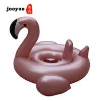 weißer schwanring großhandel-Fabrik Direkt Heißer Verkauf Rose Gold Flamingo Sitz Ring White Swan Sitzen Baby Aufblasbare Schwimmring jooyoo