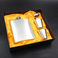 frascos conjuntos venda por atacado-7 oz Aço Inoxidável Hip Flask Gift Set Russa Hip Flask Para Conjuntos de Funil de Vinho Homem Pequeno Portátil Mini Funil Vinho Conjuntos de Balão