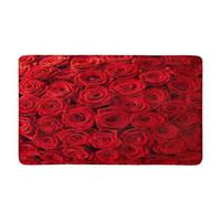 rosas rojas naturales al por mayor-Gran cantidad de rosas naturales, antideslizante, puerta, tapete, decoración para el hogar, entrada interior, felpudo