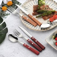 steak besteck set groihandel-Steak-Messer und Gabel Set Beech Griff Abendessen Messer Gabeln Löffel Western Food Besteck Geschirr Sets