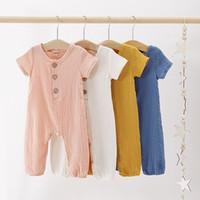 Wholesale linen baby boy clothes for sale - Group buy Summer Toddler Newborn Baby Boy Girls Jumpsuits Clothing Kids Bodysuit Cotton Linen Short Sleeve Button Solid Color Romper Clothes M1502