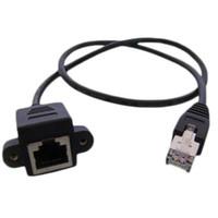 parche lan al por mayor-Nuevo Cat5 RJ45 macho a hembra Ethernet LAN Cable de extensión de red con tornillo de montaje en panel 60 cm 80