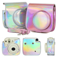 Wholesale bag for polaroid camera resale online - Colorful Laser Camera Bag For Polaroid Mini PU Leather Protective Case For Instax Mini with shouler strap
