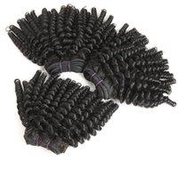 bundle shorts großhandel-Afro Haar Mongolian Afro Kinky lockiges Haar, 3 Bundles 100% unverarbeitetes 9A reines Menschenhaar Bundles Kurze Frisuren Funmi Hair