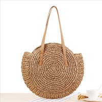 Wholesale handmade cosmetic bags for sale - Group buy Fashion Handmade Woven Beach Bag Vintage Travel Round Straw Shoulder Bag Circle Rattan bags Creative Vacation Casual Bags Cosmetic Bags