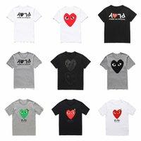 weiße tupfenhemd männer großhandel-Großhandel neue hochwertige Männer Designer t Scheiße Urlaub Herz Emoji japanische weiß schwarz Polka Dots Herz weiß Navy T Shirt Mens Womens