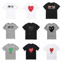 camisa de lunares blancos hombres al por mayor-Venta al por mayor nuevos hombres de alta calidad diseñadores t mierda HOLIDAY corazón Emoji japonés blanco negro lunares corazón blanco azul marino camiseta para mujer