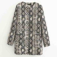patrones largos chaquetas con estilo al por mayor-FIRSTTO elegante patrón de serpiente chaqueta de manga larga con cremallera bolsillos color de contraste Outwear moda mujeres medio largo Tops abrigo