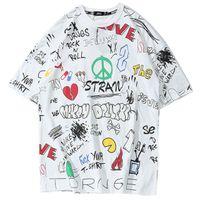 ingrosso camicie da uomo graffiti-Tshirt Hip Hop Streetwear T-shirt uomo Harajuku Graffiti 2019 T-Shirt Swag Summer Fashion HipHop Abbigliamento urbano T-shirt da skateboard
