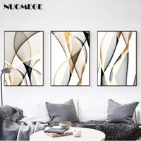 ingrosso linee moderne verniciate-NUOMEGE Abstract Modern Creative Canvas Painting Ink Line Posters Prints Nordic Wall Art Pictures for Living Room Home Decor