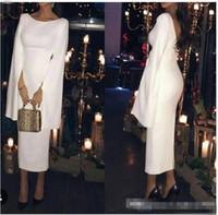 выпускной вечер оптовых-Уникальный дизайн коктейльные платья Саудовская Аравия белый атлас вечерние платья с мыса чай длина вечернее платье выпускного вечера Vestidos де