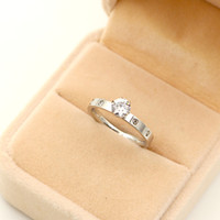 Wholesale white diamond sets resale online - 2019 Fashion Titanium plated k silver ring white stone lovers ring small diamond rose gold rings for woman as gift brithday gold rings