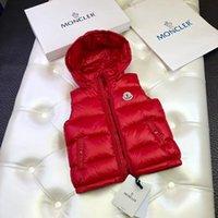 casaco de inverno novo para menina venda por atacado-2 -10 ano novas meninas menino do bebê com capuz para baixo colete casaco crianças jaqueta colete outono inverno roupas infantis coletes de pato para baixo marca