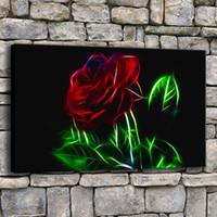 blumenbilder rosen rot großhandel-Leinwand Poster Home Decor 1 Stück Schöne Rote Rosen Malerei Moderne Druck Abstrakte Blumen Bilder Wohnzimmer Wandkunst