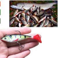 peixe em forma de atração de pesca de chumbo venda por atacado-Iscas 1pcs macio chumbo peixes de 8 cm / t 10,5 g da forma de cauda iscas de pesca de isca com dois ganchos mosca Lure