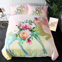 Wholesale 3d bedding set pink flower for sale - Group buy Shining Unicorn Bedding Set Queen Flower Leaf Duvet Cover Girls Floral Home Textiles Pink Bedspreads Bed Set