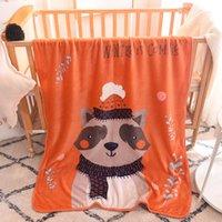 ingrosso scialli di raccooni-Nuovi bambini cartoon procione singolo strato coperta di flanella scialle coperta morbida e confortevole coperta calda culla carina