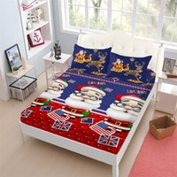 Wholesale cute twin bedding sets for sale - Group buy Blue Cartoon Sheets Set Christmas Cute Santa Claus Print Fitted Sheet Deer Flag Print Bed Linens Soft Bedclothes Pillowcase