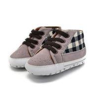 детская обувь для продажи оптовых-Hot sale Infant Toddler First Walker Baby Boy Shoes Laces Casual Sneaker PU Plaid Soft Sole Crib Shoes