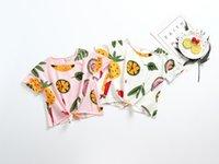 kinder mädchen kleidung design für den sommer großhandel-Mädchen scherzt Kleidungst-shirt-Stehkragenkurzschlusshülsenfruchtdruckdesignmädchenshirt-Sommermädchenkinderkleidung T-Shirt
