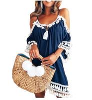 boho saçak elbisesi toptan satış-İlkbahar Yaz Elbise Soğuk Omuz Elbise Fringe Dantel Beyaz Tığ Elbise Askı Hippi Boho Giyim Casual Sundress Kadınlar Robe
