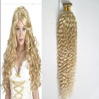 16 paket insan saçı toptan satış-Sarışın brezilyalı saç Sapıkça kıvırcık Fusion Keration Ben İpucu 100% Gerçek İnsan Saç Uzantıları 1.0 g / s 100 g / paket