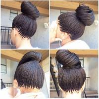 ingrosso parrucche brasiliane africani americane-Hot sexy 1b # 613 # sintetico micro twist twist treccia parrucche anteriori fibra resistente al calore lunghe brasiliane donne afro-americane parrucche con i capelli del bambino