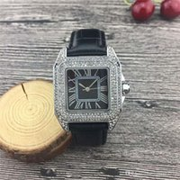 Wholesale bezel rectangle resale online - 2019 Fashion Luxury Watches Unisex Women Watch MM Square Diamonds Bezel Leather Strap Top Brand Quartz Wristwatches for Lady Best Gift