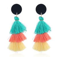 quasten für schmuck großhandel-Quaste Ohrringe für Frauen Modeschmuck Gesicht mit Fransen kleine Tropfen Ohrring weiblichen Schmuck Geschenk böhmischen Anweisung Ohrringe