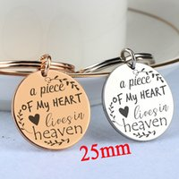 Wholesale keychain pieces resale online - Memorial Round Jewelry Engraved A Piece Of My Heart Lives In Heaven Keychain Loss Loved One Hand Stamped Stainless Steel Keyfobs