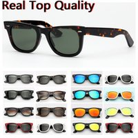Wholesale model lenses for sale - Group buy sunglasses ray fashion farer model acetate frame with real UV400 glass lenses sun glasses free leather case packages everything