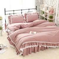 Wholesale housing full case resale online - Princess House Cotton Bedding Set Lotus Leaf Embroidered Lace Bean paste Quilt Case