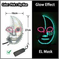 poder da máscara venda por atacado-Muitos Estilo De Poupança De Energia LED Neon Máscara de 10 Cores Opcionais El Fio Máscara Alimentado Por DC-3V Driver para Decoração de Halloween Frete Grátis