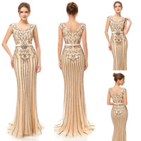 Wholesale embroidery designer occasion dresses online - 2019 Luxury Champagne sliver beaded crysta Mermaid Evening Dresses Wear yousef aljasmi Fashion zipper backless arabic Prom Formal Gowns real