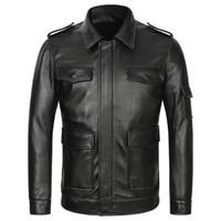 erkek deri uçuş ceketi toptan satış-Erkek Hava Kuvvetleri Uçuş Gerçek Deri Ceketler Erkekler Için Hakiki Kalın Inek Deri Ceketler Pilot Aviator Ceket Sonbahar Kış Çok cep