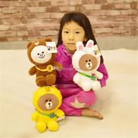 karikatür minderleri toptan satış-Kore Hattı Arkadaşlar Süper Yıldız Küçük Kakao Teddy Bear Dolması Hayvanlar Karikatür Yumuşak Yastık Çocuk oyuncakları Doğum Günü Hediyeleri