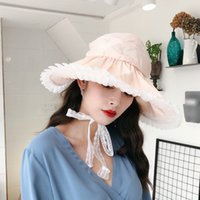 kadınlar plaj pembe şapkalar toptan satış-[Süper Seabob] 2019 İlkbahar Yaz Kadın Yeni Pembe Renk Eklenmiş Dantel Dome Katlanabilir Sandy Beach Güneş Balıkçı Şapka Tüm Maç LI964