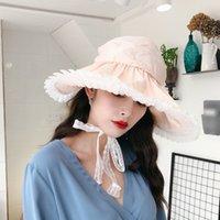 chapeaux roses pour femmes achat en gros de-[Super Seabob] 2019 Printemps Eté Femme New Pink Color Spliced Lace Dome Pliable Sandy Beach Sun Fisherman Hat All Match LI964