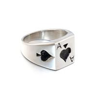 кольца для покера в покер оптовых-Удача Мужской Кольцо ХИП-Панк Готический Туз Пиковый Покер Кольца Тяжелый Металл Литья Титана Нержавеющей Стали Байкер Кольцо для Мужчин Ювелирные Изделия